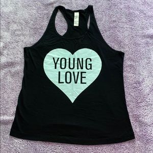F21 PJ tank top Young Love teal heart S